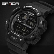 SANDA sportowe męskie zegarki Top marka luksusowy wojskowy LED cyfrowy zegarek męski 30m wodoodporny S Shock zegar relogio masculino tanie tanio RUBBER CN (pochodzenie) 22 9cm 5Bar Sprzączka ROUND 24 57mm 15mm Akrylowe stoper podświetlenie Odporna na wstrząsy Wyświetlacz LED