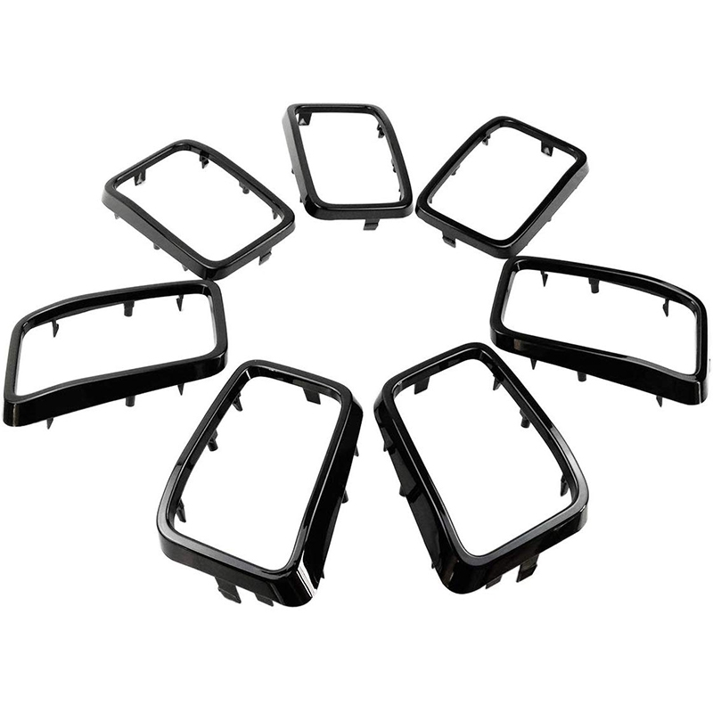 7PC Gloss Black Grill Rings Grille Grill Inserts Fit for 2017 2018 <font><b>2019</b></font> Jeep <font><b>Grand</b></font> <font><b>Cherokee</b></font> image