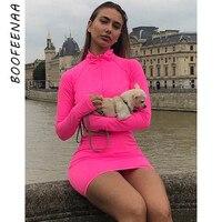 BOOFEENAA неоновое розовое зеленое облегающее платье с длинными рукавами весна 2019 на молнии стрейч повседневное сексуальное короткое платье дл...