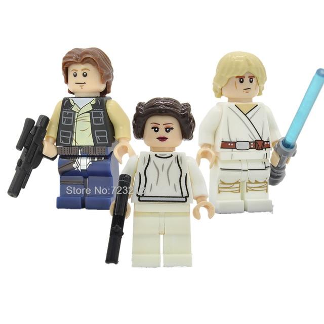 Лидер продаж, фигурки из Звездных войн, одна распродажа, принцесса Лея с цепочкой, Боба Фетт, набор строительных блоков, модель, Звездные войны, игрушки Legoing - Цвет: Luke Leia Han