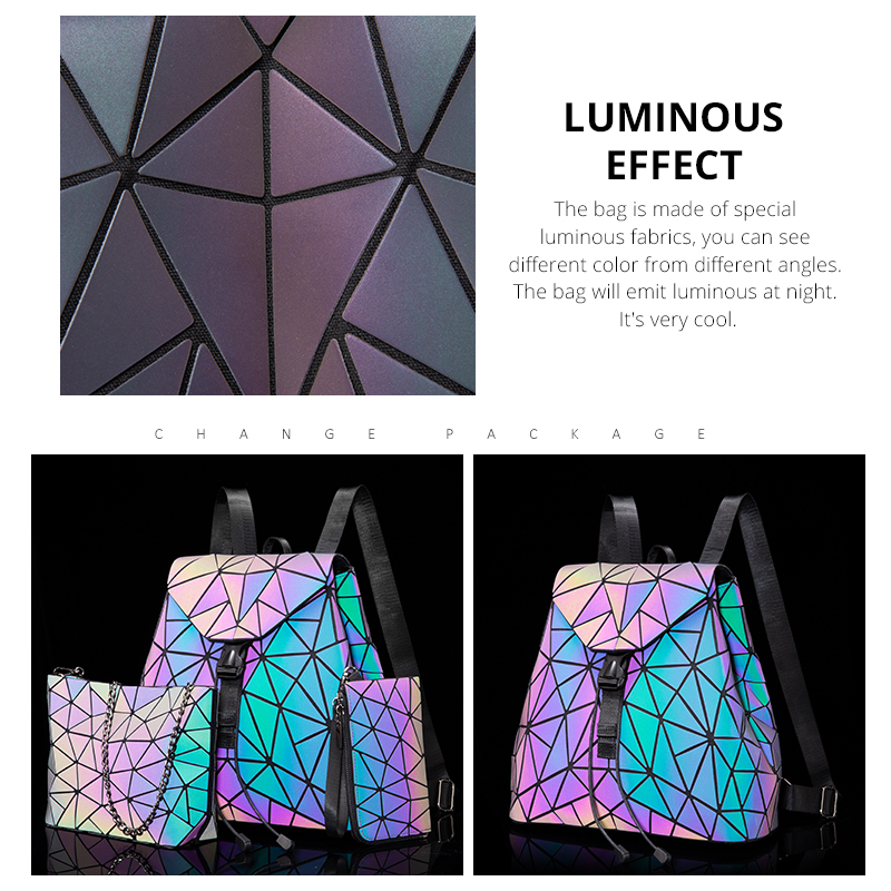 Reflective Geometric Luminescent  Bag Set - Clutch, Purse, & Backpack 2