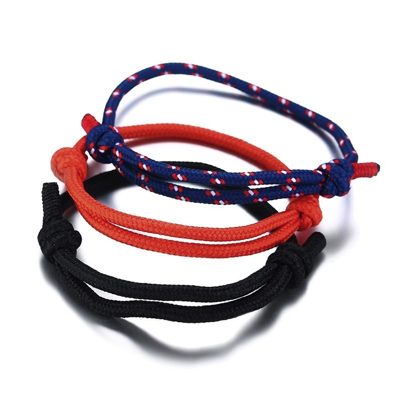 SET OF 3 ADJUSTABLE CLIMBING ROPE BRACELET WITH KNOTS THAT SLIDES NAUTICAL JEWELRY FOR GUYS BEACH SURF BRACELETS MEN JEWELRY