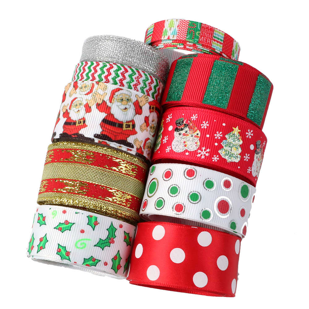 Accesorios David 1y/roll 10 roll/set grogrén Ribbon Merry Navidad Ribbon Set DIY arco materiales fiesta decoración regalo, 1Yc8507