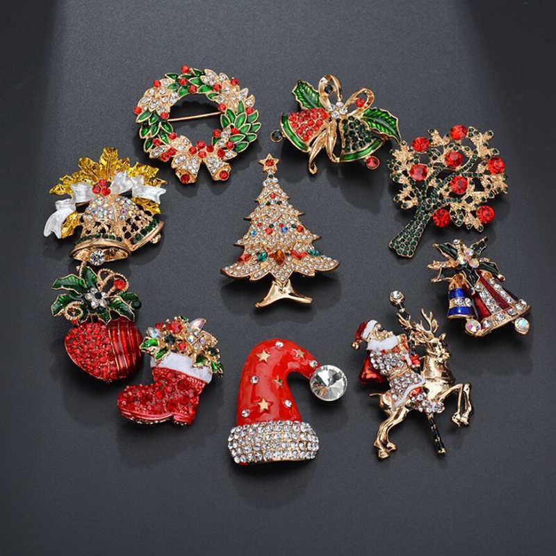 Creative Crystal Christmas Brooches Santa Claus Christmas ...