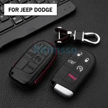 Leather Remote Car Key Fob Cover Case Shell For Jeep Grand Cherokee Renegade For Dodge Charger Challenger Dart Journey Chrysler