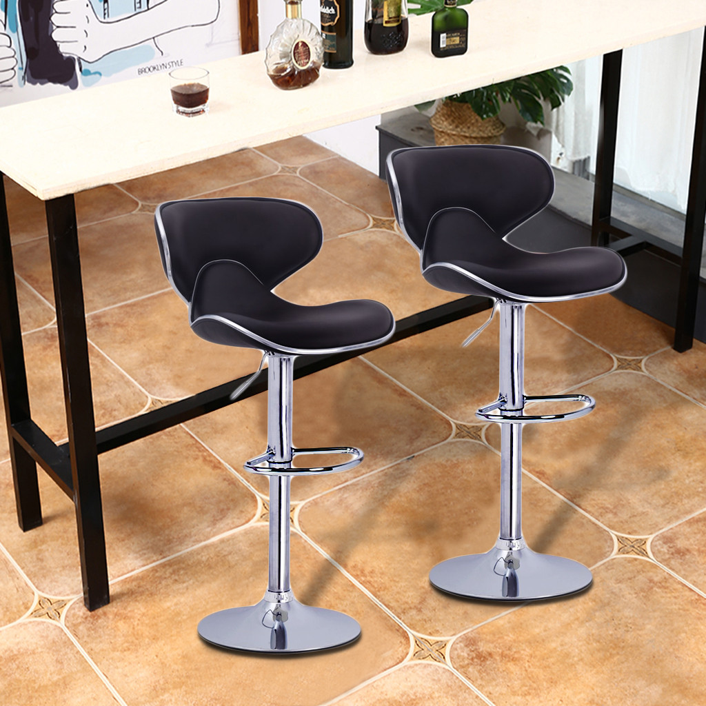 2Pcs/Set Lounge Chairs Bar Chair PU Leather Bar Stool Lift Height Adjusted Swivel Leisure Home Office Kitchen Backrest Chair#US6