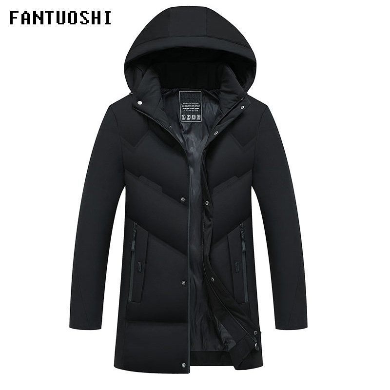 Long section   Parka   Men New Arrival Winter Coat Male Slim Jacket Cotton Warm Thicken Hooded Overcoat Comfortable Clothing 4XL