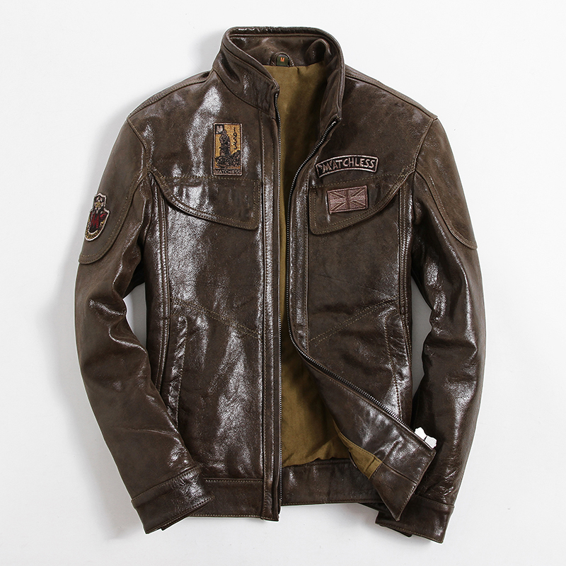 Real Leather Jacket Men Clothes 2020 Streetwear Fashion Mens Sheepskin Coat Slim Fit Moto Biker Genuine Leather Coat 6001