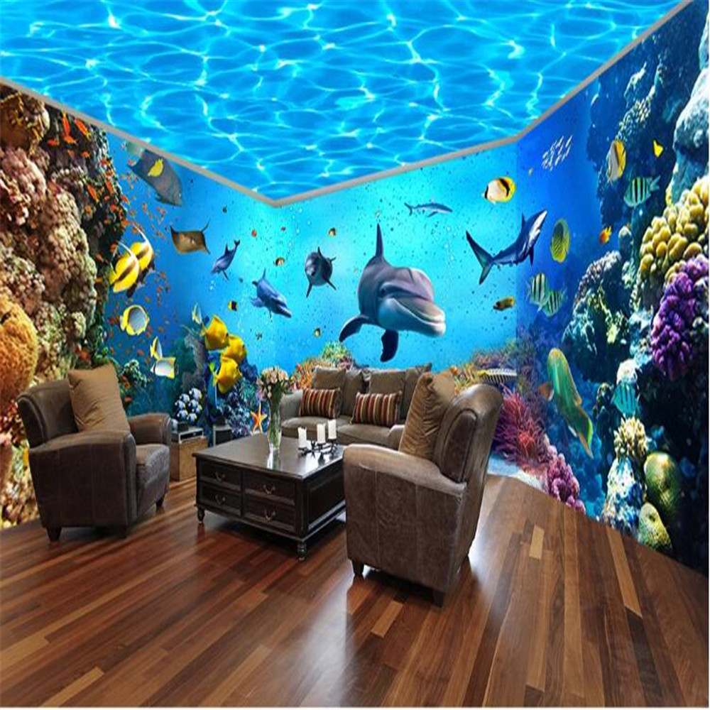 Milofi Custom 3D Underwater World Aquarium Theme Space Full House Backdrop image
