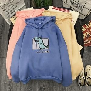 Harajuku Cartoon Dinosaur Print Hoodies Women Casual Long Sleeve Loose Hooded Sweatshirt Autumn Winter Fleece Hoody Pullover Top