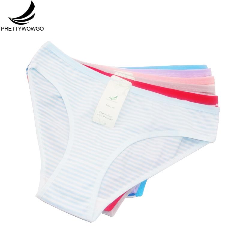 Prettywowgo 6 Pcs/lot New Arrival 2020 Striped Underwear Women Comfortable 6 Color Cotton Briefs Panties M L XL 8630