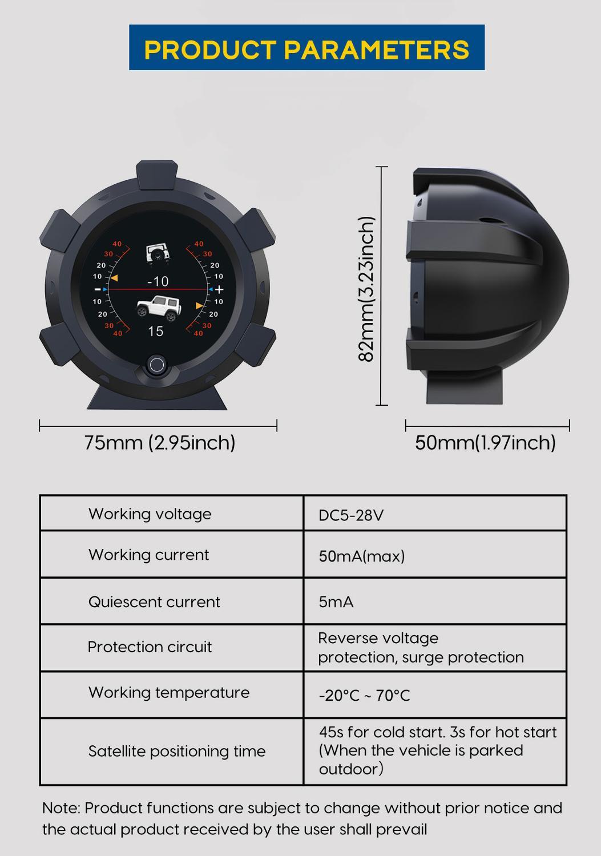 AUTOOL X95 GPS Horizontal Slope Meter Inclinometer Speedometer PMH KMH Car Compass Pitch Tilt Angle Altitude Latitude Longitude 3