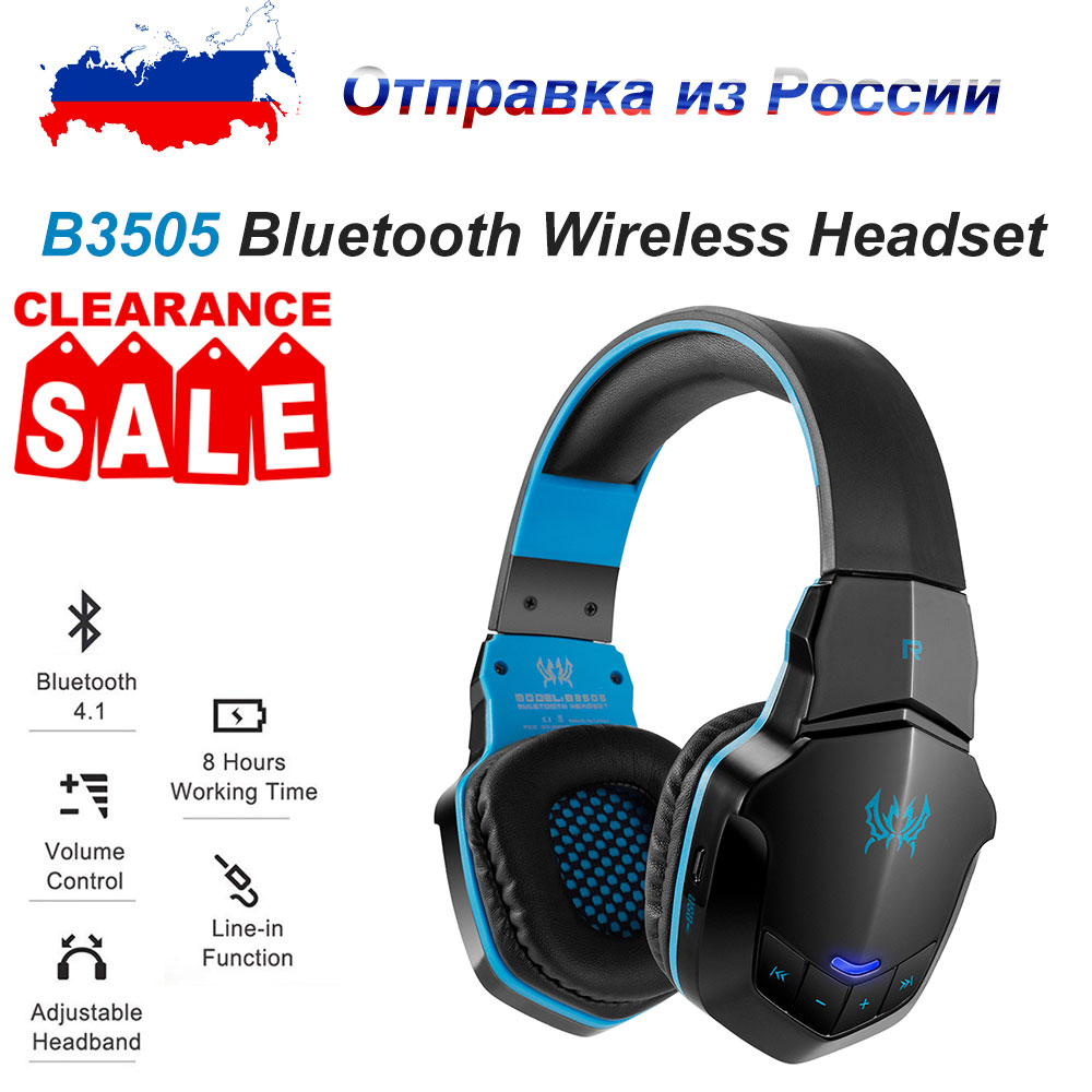 Shipping from Russia KOTION EACH B3505 Wireless Bluetooth Headset Headband Gaming Headset with Microphone BT4.1 Stereo Headphone