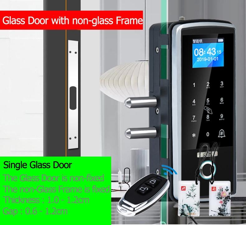 H678d64083002477f99116a240981ee3aB Smart Door Fingerprint Lock Electronic Digital Gate Opener Electric RFID Biometric finger print security Glass Password Card
