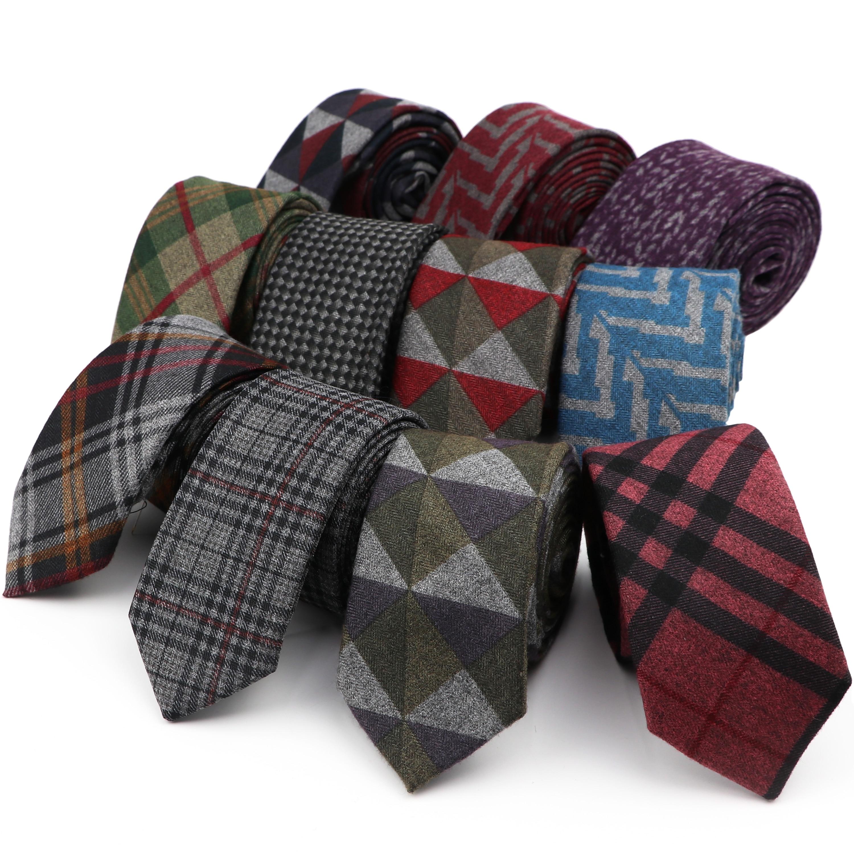 Men's Soft Classic Diamond Check Artificial Wool Cotton Dark Color Tie Striped Slim Black Grey Necktie For Daily Accessory Gift