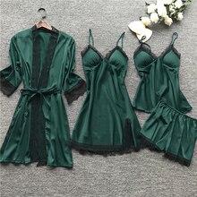 Women Lace Silk Satin Pajamas Sets Sleepwear 4 Pieces Nightwear Pyjama Spaghetti Strap Slee