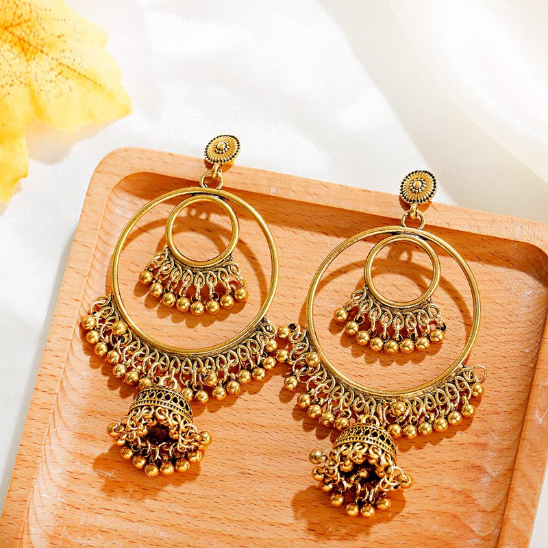 H678d82f4f594404c9e41df14d7ba3cfbf - Antique Gold Boho Big Round Circle Gypsy Tribal Indian Drop Earrings For Women Vintage Bell Tassel Earring Womens Jewellery