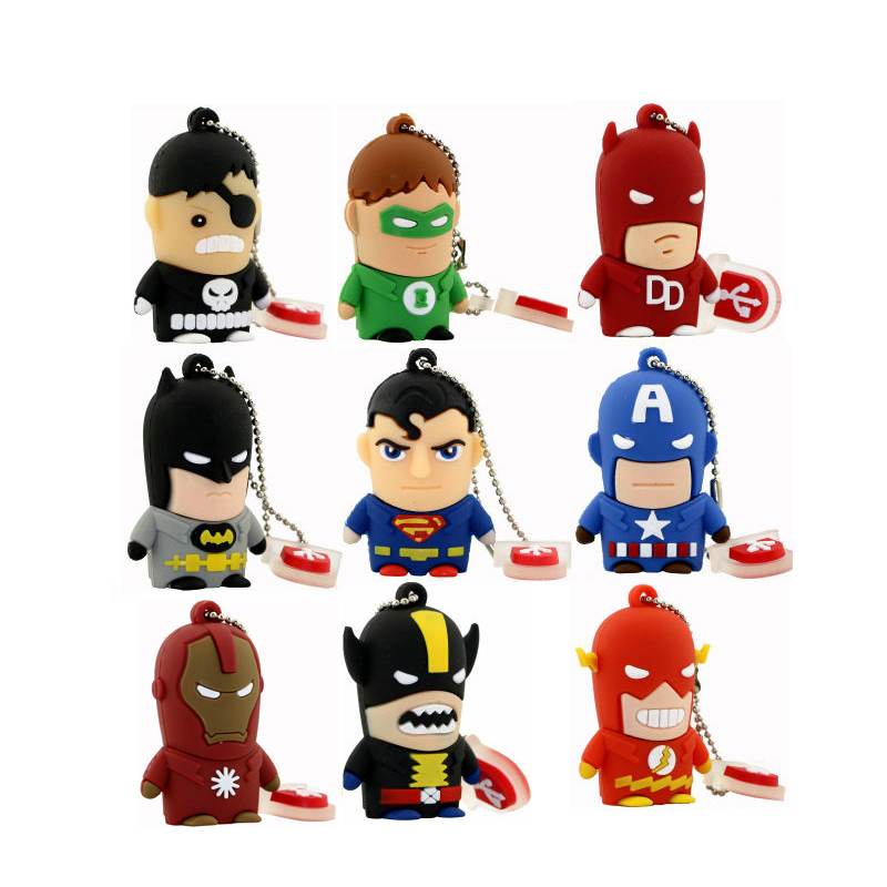 Funny Cartoon Super Hero USB Flash Drive 8GB 16GB 32GB 64GB Iron Man Flash Memory Batman Pendrive Captain America 128G Pen Drive