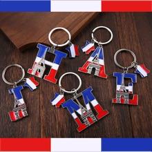 Vicney High quality Letter Keychain France Souvenir Triumphal Arch Key Chain ACE Zinc Alloy Eiffel Tower Keyring For