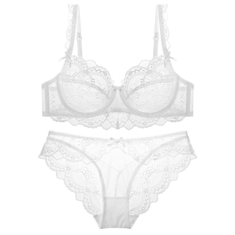 Image 3 - TERMEZY ultra thin cup sexy lace underwear transparent bra Set Bow decoration Lingerie Comfortable Brassiere and Panties setBra & Brief Sets   -