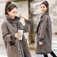 Winter parkas Women Vintage Wool Blends Plaid Coat Female Fashion Formal Slim Lo
