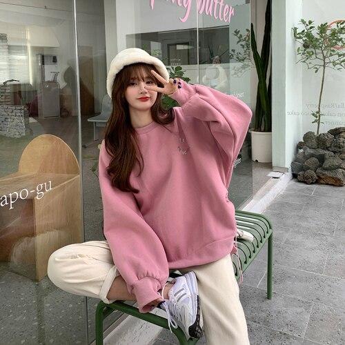 Oversized Hoodies  Harajuku Streetwear Chic Letter Print Hoodies Women Winter  Long Sleeve Hoodies kawaii Sweatshirt 8