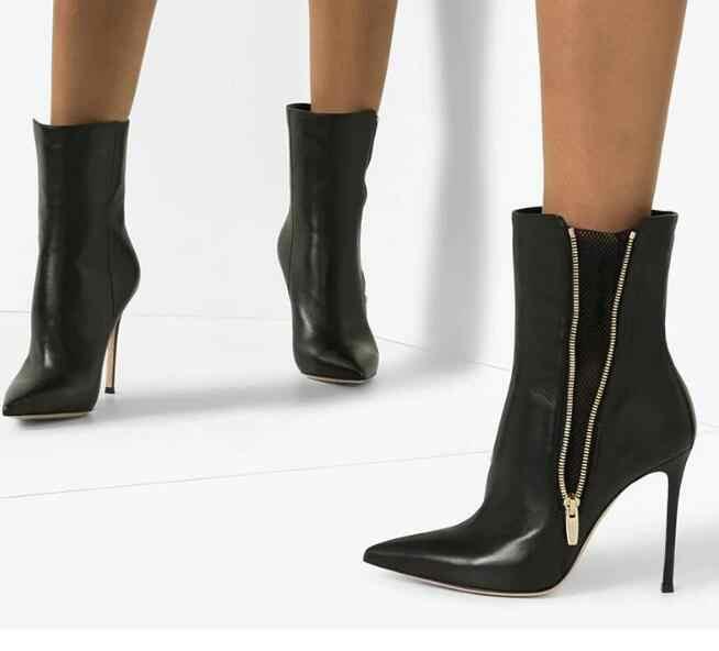 Siyah Pu yan fermuar moda kadın sivri burun artı boyutu Stiletto topuklu yüksek topuk ayak bileği kısa çizmeler yüksek kaliteli patik bayan