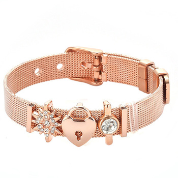 Love Lock Bracelet Gold Color Strap Jewelry  1