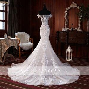 Image 2 - Elegante Spitze Appliques Meerjungfrau Hochzeit Kleider 2020 vestido de noiva Ärmellose Bodenlangen Weg Von der Schulter Brautkleider
