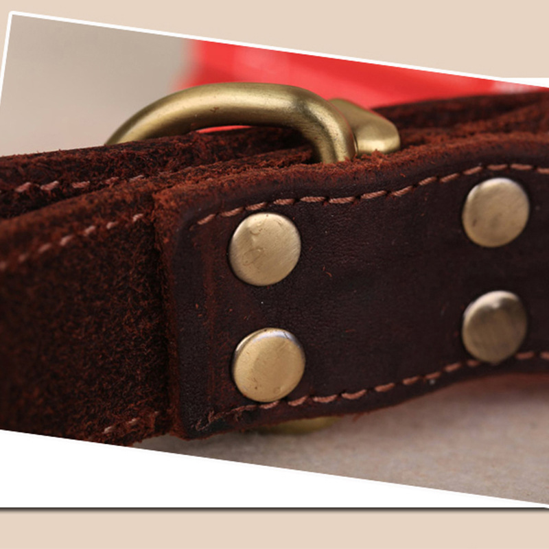 Pet Supplies Dog Neck Ring Genuine Leather Medium Large Dog Genuine Leather Collar Collar Cattle Hide Flat Neck Band