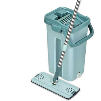 Cleaning Mops Spray Floor Mop Magic Hand Spin Microfiber with Bucket Clean Free Flat Squeeze Home Kitchen