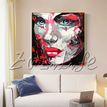 Portrait Face  Red Grey Keynote Palette knife Oil painting christmas figure canva Hand painted Francoise Nielly wall Art picture