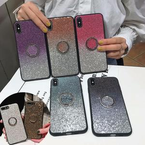 For Huawei P20 P30 Pro Lite Case Honor 20 10 8X Mate 20 Pro Lite Cases Luxury Glitter Diamond Gold Girl PC Silicone Ring Holder(China)