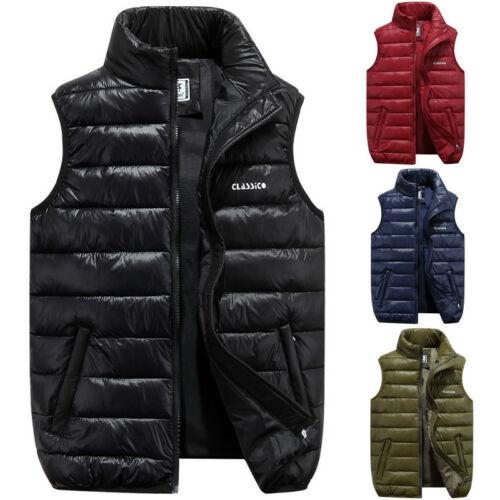 New Fashion Men's Winter Vest Sleeveless Puffer Warm Outwear Zipper Padded Jacket Coat Plus Size L-3XL