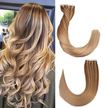 Toysww Remy Tape In Human Hair Extensions Double Drawn Hair Straight 20 pcs 40pcs On Adhesives Seamless Hair Extensions