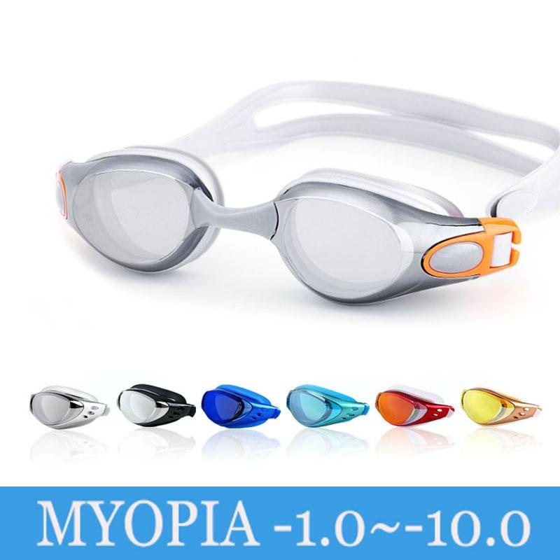 Óculos de natação miopia adulto profissional anti nevoeiro galvaniza natacion natação piscina diopter água nadar eyewear