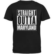 Straight Outta Maryland Black Adult T-Shirt Short Sleeve Tee Shirt Free Shipping cheap wholesale(China)