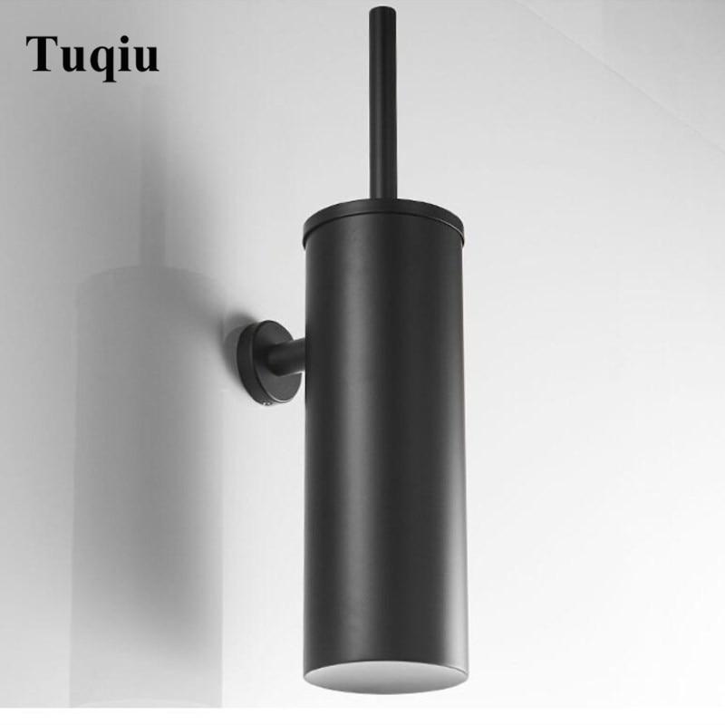 Vidric Modern Matte Black Toilet Brush Holder Bathroom Wall Mounted 304 Stainless Steel Toilet Brush Rack Round Base