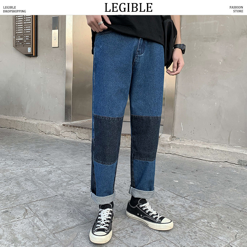 LEGIBLE 2020 Spring Autumn Patchwork Jeans Mens Casual Denim Pants Loose Fit Trousers New Brand Straight Zipper Pants Men