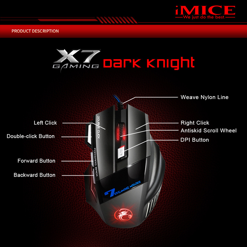 Ergonomic Wired Gaming Mouse 7 Button 5500 DPI LED USB Computer Mouse Gamer Mice X7 Silent