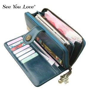 Image 1 - 2020 yeni Vintage düğme telefon çantalar kadın cüzdan bayan çanta deri marka Retro bayanlar uzun fermuar kadın cüzdan kart debriyaj