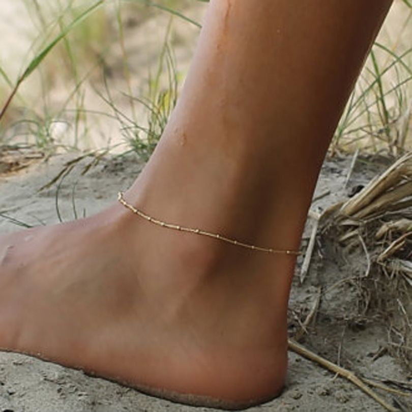 FENGLI Simple Fashion Trendy Foot Jewelry Cross Drop Anklet Heart Ankle Leg Bracelets Gift for Girl Statement Jewelry 4