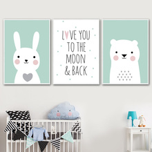 Cartoon Cute Rabbit Bear Quote Nursery Wall Art Canvas Painting Nordic Posters And Prints Wall Pictures For Baby Kids Room Decor baby girl room decor nordic cartoon pictures for kids room posters and prints nursery simple quote cat wall art canvas painting