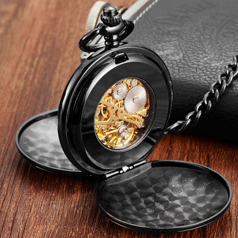 Luxury Gold Dial Black Mechanical Pocket Watch Skeleton Pendant Fob Chain Reloj For Men Antique Bronze Steampunk Montre De Poche