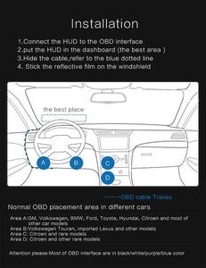 Image 4 - عداد السرعة الرقمي للسيارات بشاشة عرض 4 بوصة T100 HUD ، نظام تحذير السرعة الزائدة OBD2 ، جهاز عرض عاكس للزجاج الأمامي