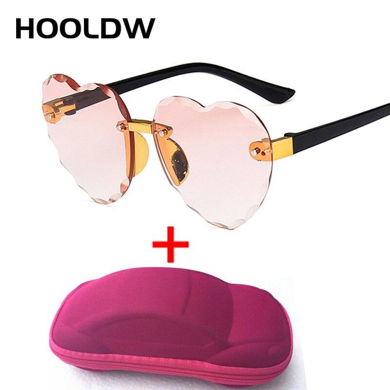 HOOLDW Fashion Heart Rimless Kids Sunglasses Lovely Heart Shape Girls Sun Glasses Children Outdoors Travel UV400 Oculos De Sol