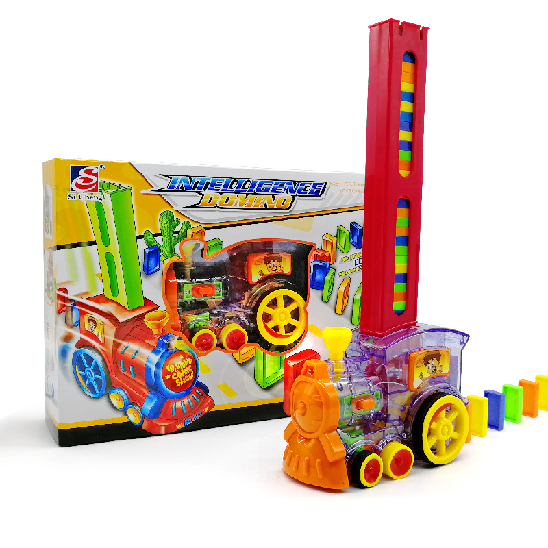 2019 New Domino Rally Electronic Train Model Colorful Toy Set Girl Boy Children Kids Gift