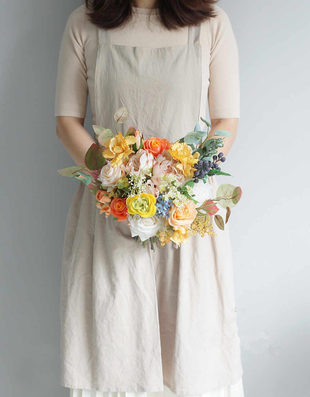 JaneVini 2019 สีส้มดอกไม้งานแต่งงานเจ้าสาวเจ้าสาวผู้ถือ Ramo Novia ประดิษฐ์สีเหลืองดอกกุหลาบ Bouquet De Mariee