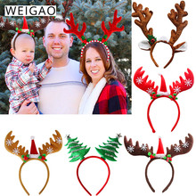 WEIGAO Christmas Headbands Reindeer Xmas Tree Headwear Clasp Head Hoop Decoration Costume Party New Year Kids Gifts