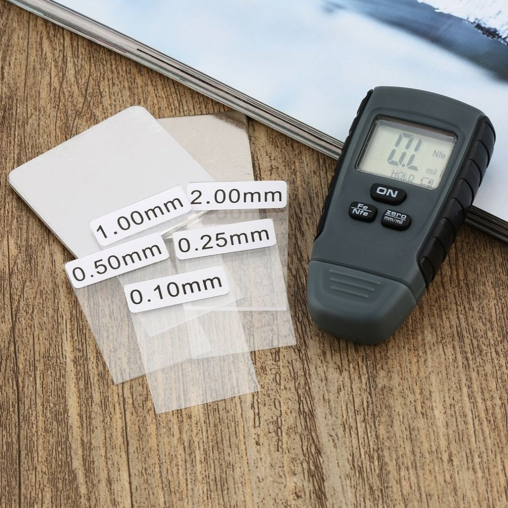 RM660 Portable Coating Thickness Gauge Feeler Tester Fe/NFe Instrument Base With Iron & Aluminum LCD Display Digital Tool